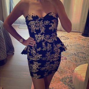Sexy black and gold peplum mini dress sz S